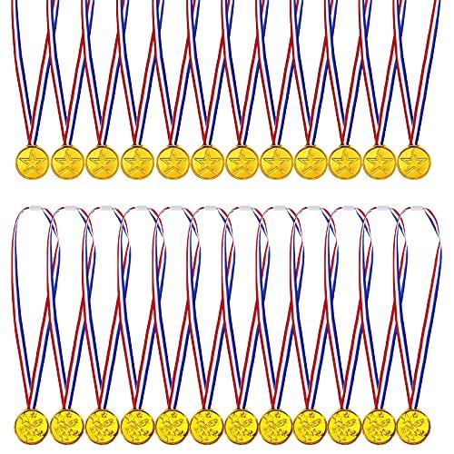 Sinwind Medallas de cumpleaños para niños, 24 unidades, medallas de oro, medallas para niños ganadores, medallas, supermedallas, podium