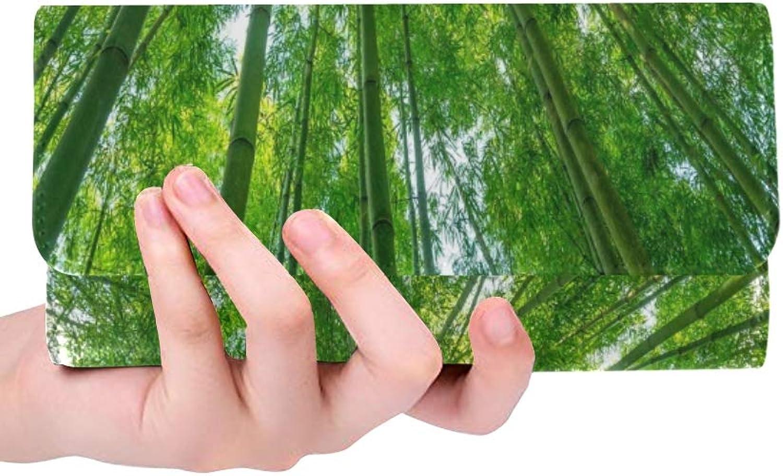 JOCHUAN Einzigartiger Einzigartiger Einzigartiger kundenspezifischer Bambuswaldschönes grünes natürliches Stockfoto Frauen-dreifachgefaltete Mappe langer Geldbeutel-Krotitkarteninhaber-Fall Handtasche B07Q3V519P 4a34ce