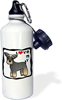 3dRose I Love My Miniature Schnauzer Dog - Banded Brown Base Coat (Salt and Pepper) - Red Heart - Sports Water Bottle, 21oz (wb_40891_1)