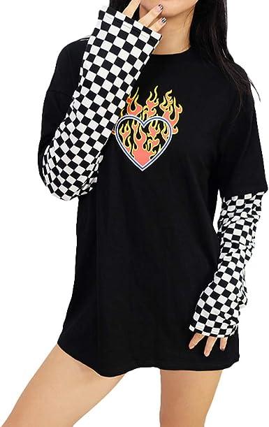 Mujer Camiseta a Cuadros de Manga Larga con Estampado de Corazones llameantes en Blanco y Negro de Damasco con Cuello Redondo y Tops de Cuello Redondo ...