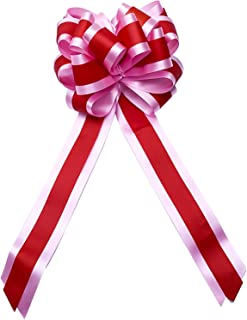 50Pcs Pull Bow Solid Day Satin Yards Wrapping Ties Edging Ribbon Crafts Bows Red Flower Length 36.7cm Plastic