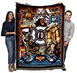 Fire Department Firefighter - Cotton Woven Blanket Throw - Made in The USA (72x54)