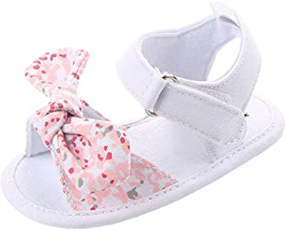Baoblaze Summer Baby Girls Cozy Cloth Sandal Shoes Infant Anti-Slip Soft Shoes - Pink, 0-6Months