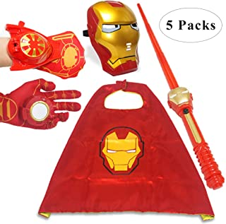 Fundisinn Cartoon Superhero Costume 5 Packs Light Mask & Satin Cape & Light Gloves & Adjustable Sword & Fire Gloves Dress Up Costumes for Kids Halloween Toy