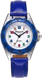 Hemobllo Kids Cartoon Watch Dial Wristwatch PU Strap Quartz Watch for Students Birthday Gift (Blue)