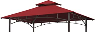Eurmax 5FT x 8FT Double Tiered Replacement Canopy Grill BBQ Gazebo Roof Top Gazebo Replacement Canopy Roof(Burgundy)