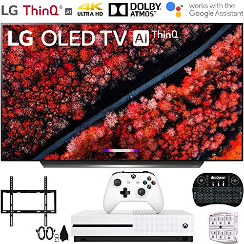 LG OLED65C9PUA 65' C9 4K HDR Smart OLED TV w/AI ThinQ (2019) w/Xbox Bundle Includes, Microsoft Xbox One S 1TB, Flat Wall Mount Kit Ultimate Bundle for 45-90 inch TVs and More