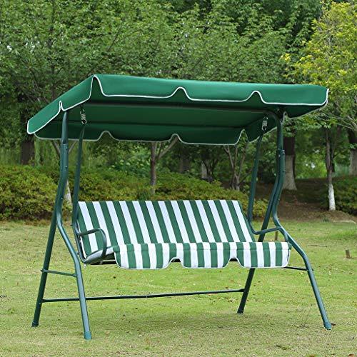 Loywe Hollywoodschaukel Gartenschaukel Schaukelbank 3-Sitzer mit Dach Stahlgestell,Grün 170x115x156cm LW12 - 5