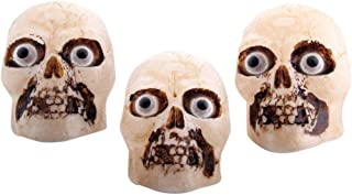 Liberty Imports Halloween Party Light Up Skull Prop Indoor Outdoor Decoration with Yard Sticks (Pack of 3 Skulls)