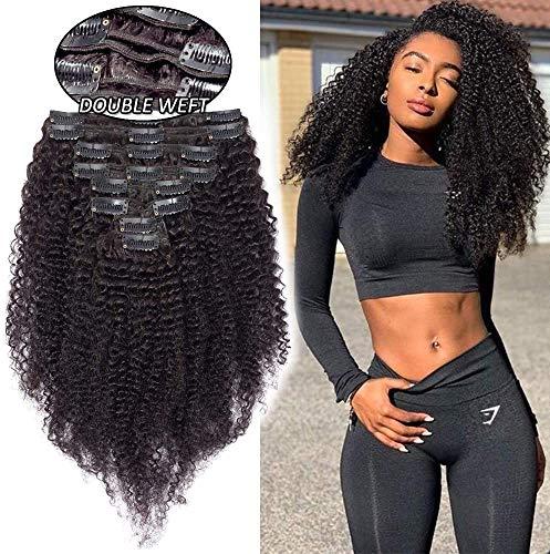 Extension a Clip Cheveux Naturel Afro Bouclé - Rajout Cheveux Humain 8 Pcs Double Weft (#1B NOIR NATUREL, 55cm (120 g))