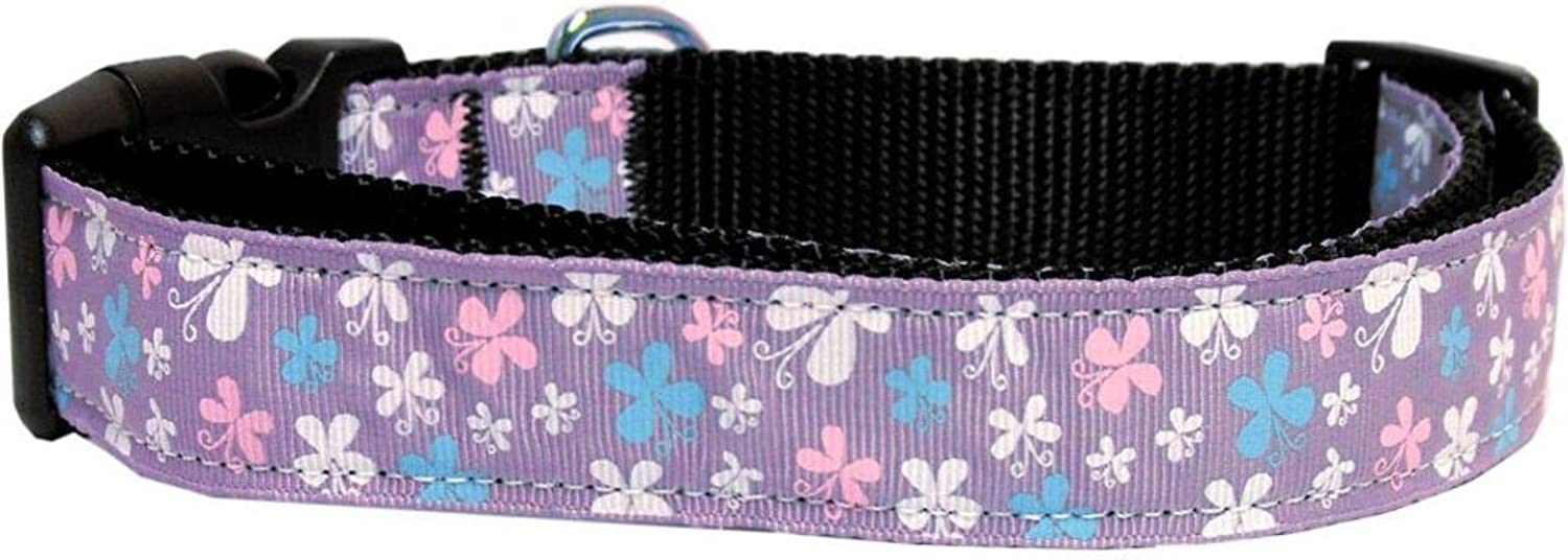 Dog   Cat   Pet Charms Butterfly Nylon Ribbon Collar Lavender Large