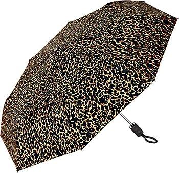 Coolibar UPF 50+ 42 Inch Sodalis Travel Umbrella - Sun Protective  One Size- Brown Leopard Print