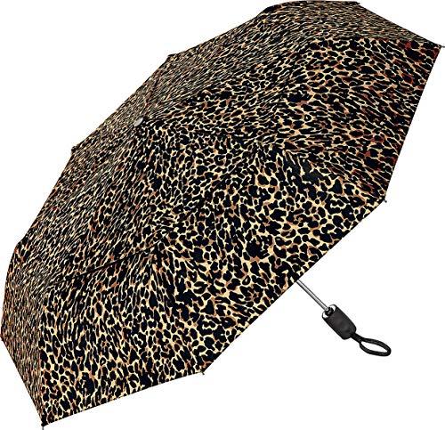 Coolibar Sodalis Reiseschirm mit LSF 50+, 106 cm, Sonnenschutz, braunes leopardenmuster (Braun) - 04109-001