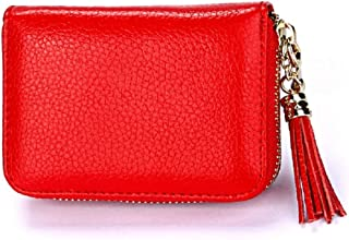 Dlife Genuine Cowhide Leather Wallet Zipper Accordion Pendant Tassel RFID Blocking 15 Card Slots Small Credit Card Wallet for Women (Red)