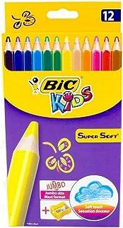 BIC Kids Super Soft Crayons de Couleur - Coloris Assortis, Etui Carton de 12 + 1 Taille-Crayons
