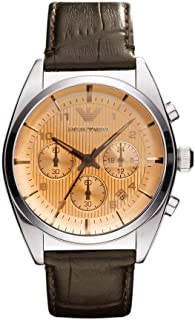 Emporio Armani Mens Quartz Watch, Analog Display and Leather Strap AR0395