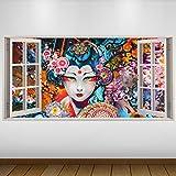 LagunaProject Extra Grande Japón Geisha Blanco de Vinilo 3D Póster - Mural...
