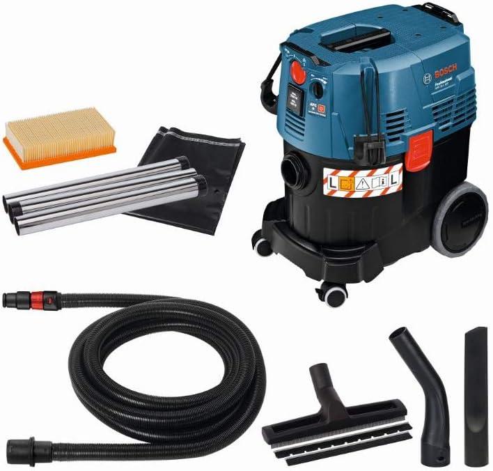Bosch Professional GAS 35 L AFC - Aspirador seco/húmedo (1200 W, 254 mbar, depósito 35 l, clase polvo L, manguera 5m), con accesorios