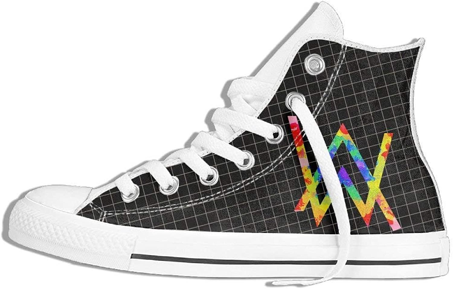 HuNa-Store colorful Alan Walker Unisex Lightweight Casual shoes High-top Canvas shoes Fashion Sneaker