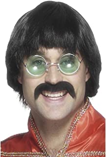 Smiffys Men's 70's Mersey Wig and Tash Short Styled