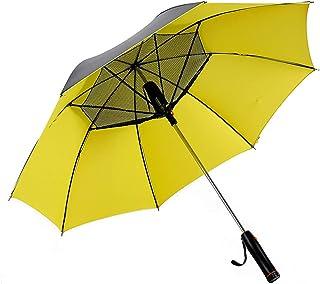 Akasennmi 傘 屋外 日焼け止め 冷却 ビジネス日傘 ワンタッチ自動開閉 晴雨兼用 日傘 長傘 (色 : イエロー)