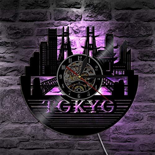 Reloj de pared de Tokio Capital Japonés Tokio Paisaje urbano vinilo Record Wall Clock Japón Travel Souvenir Japón Arte japonés Reloj Regalo Luces LED