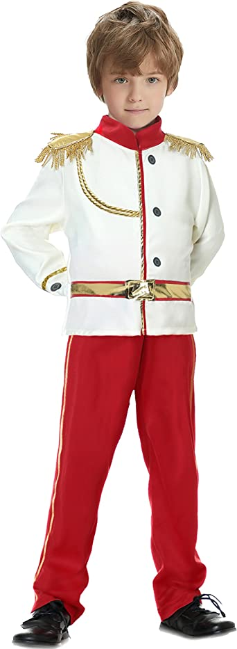 YuDanae Prince Charming Costume Medieval Royal Prince Outfit Costume for Toddler Kids Boys Aged 3-10