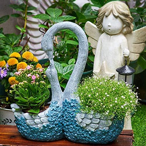 ZXLRH Swan Indoor Statues 2Pcs Set,Pair Loving Kissing Duck Figurines,Creative Ornaments Flower Pot,Outdoor Patio Garden Balcony Sculpture
