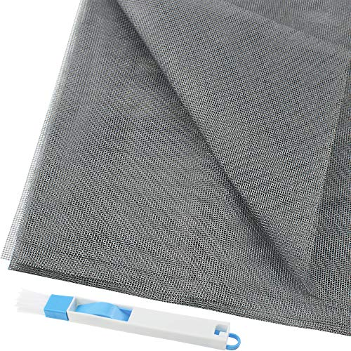 PLCatis 1Pz Rete per Zanzariera in Fibra di Vetro a Maglia Rettangolare 1.2 * 2.5m Resistente ai Raggi UV Zanzariera per Finestra Protezione con 1 Spazzola Blu per la Pulizia della Finestra