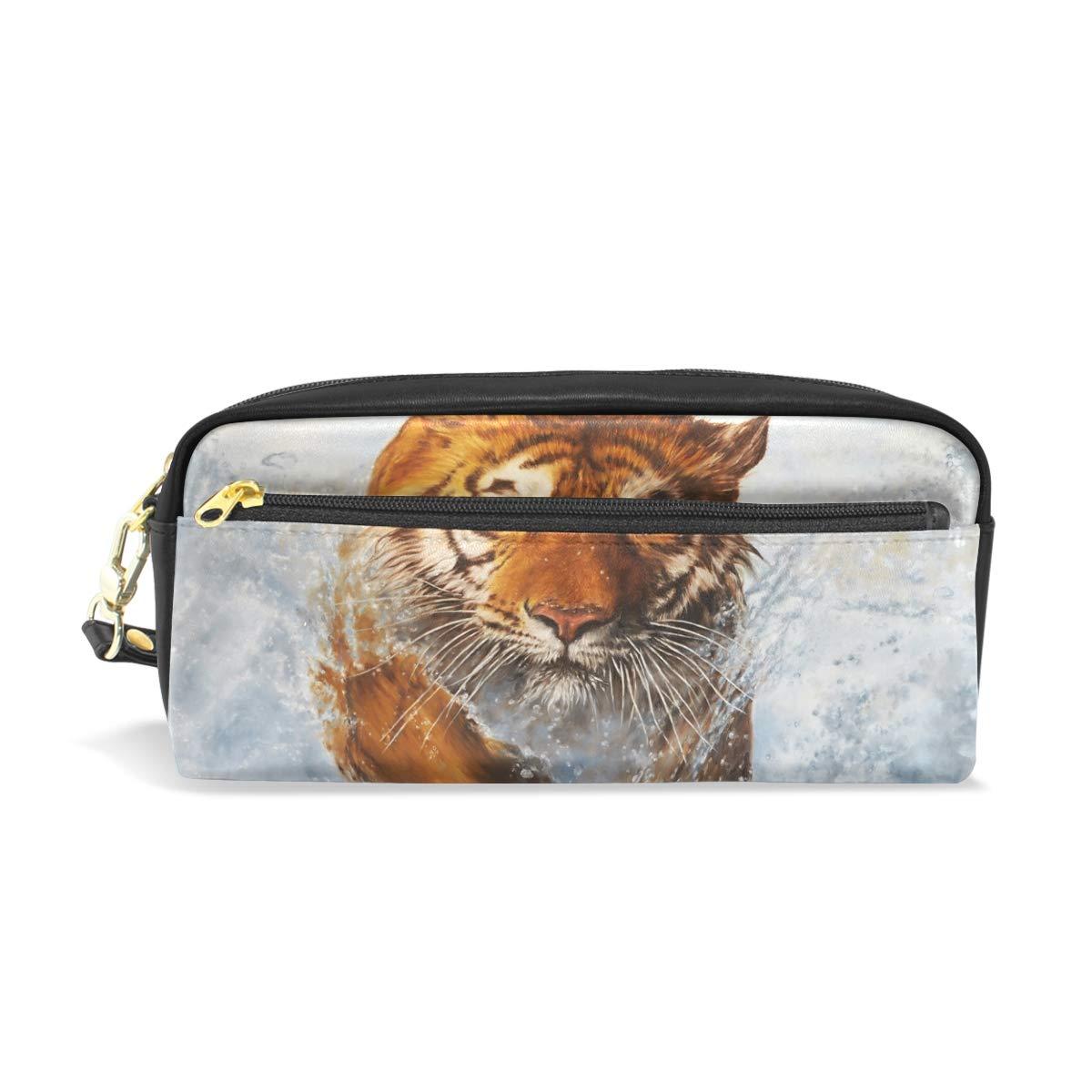 Eslifey Runnning Tiger - Estuche portátil de piel sintética para lápices de colores para niños: Amazon.es: Oficina y papelería