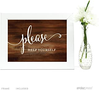 Andaz Press Wedding Framed Party Signs, Rustic Wood Print, 5x7-inch, Please Help Yourself Reception Dessert Table Sign, 1-Pack, Includes Frame
