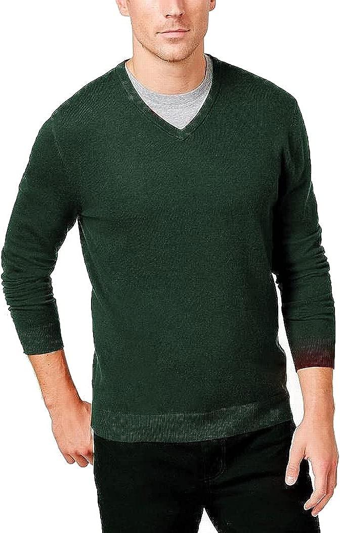 Alfani Mens Sweater Large V-Neck Solid Knit Pullover Green L