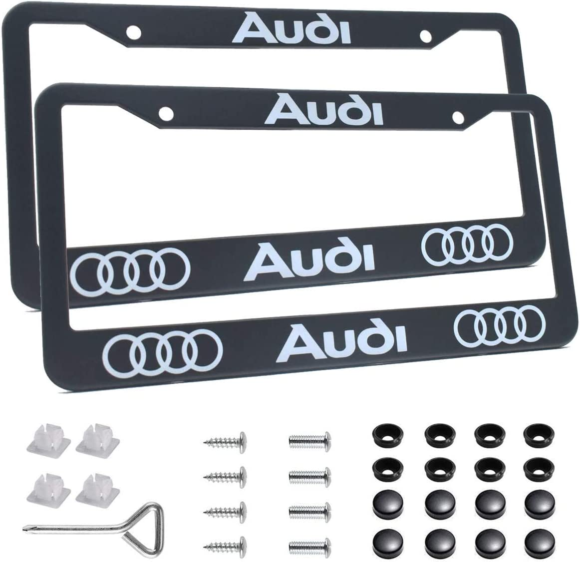 2 pcs License Plate Frames for Cadillac 2 Holes Premium Black Aluminum Alloy Metal Cadillac Logo License Plate Cover Holder Compatible All Vehicle License Plate Tag Cover