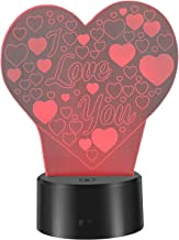 LEDMOMO 3D Lamp Illusion Night Light 7 Colors Changing I Love U Heart Shapes LED Lamp USB Table Lamp for Valentine's Day L...