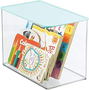 mDesign Stackable Closet Plastic Storage Bin Box with Attached Hinged Lid - for Organizing Baby/Child's/Kids Toys, Action Figures, Markers, Blocks, Crafts, Dog/Cat Toy Box - Clear/Light Mint