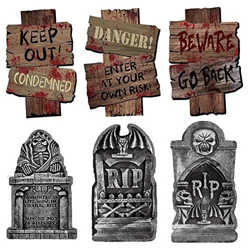 Decorazioni di Halloween Lapide RIP* 3 Segnale Stradali di Pericolo *3,per Tombstone all'aperto Decorazioni per La Casa Stregata, Dolcetto o Scherzetto, Articoli per Feste