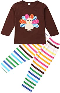 Thanksgiving Baby Girl Outfit Cotton Long Sleeve Shirt Top Blouse+Rainbow Striped Turkey Pants Set Clothes