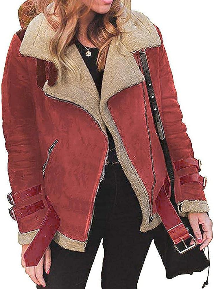 Women's Fleece Outwear, Winter Women Faux Fur Coat Warm Lapel Biker Motor plus hoody Trench Coat Winter Thickened Jacket