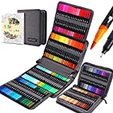 120 Colors Dual Tip Brush Pens Fineliners Art Markers, Watercolor Marker and Highlighters with Canvas Bag for Adult Coloring Books Drawing Sketching Bullet Journal Calligraphy