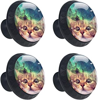 4 Pcs Cabinet Knobs Funny Galaxy Space Cat Dresser Drawer Pulls Round Glass Cupboard Wardrobe Furniture Handles with Screws for Home Office 35mm (1-3/8 Inches)