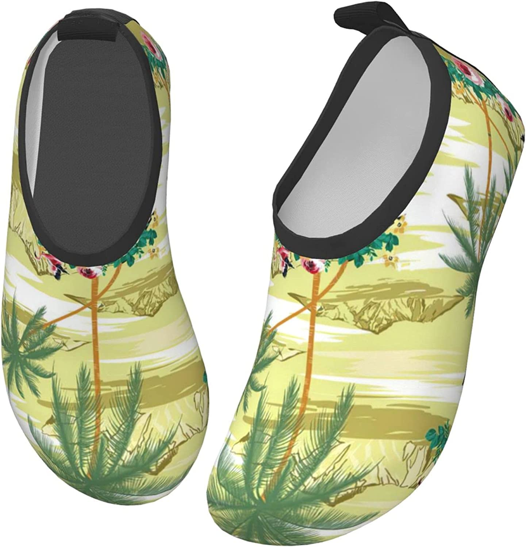 Bluebluesky Retro Style Hawaiian Mountains Coconut Tree Kids Swim Water Shoes, Non-Slip Quick Dry Barefoot Aqua Pool Socks Shoes for Boys & Girls Toddler