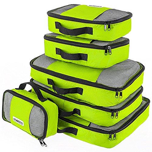 Savisto Packing Cubes, 6-teiliges Packtaschen Set für Urlaub, Reisen, Flugreisen - Ordnungssystem für Koffer, Handgepäck, Trolley, Reisetasche und Rucksack - Packwürfel S/M/L/XL (6 Pack) - Grün