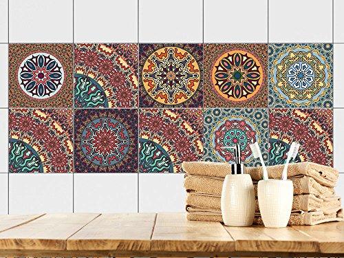 GRAZDesign Fliesenaufkleber glänzende Folie - Fliesenaufkleber Küche Mandala bunt - Fliesensticker marokkanische Deko - Fliesenfolie Küche & Bad orientalisch / 10x10cm / 770351_10x10_FS10st