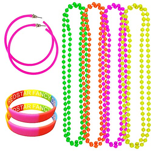NEON PARTY 80S EARRINGS 4 PACK NEON NECKLACE BEADS AND MULTICOLOURED WRISTBANDS - RAVE DISCO HEN FANCY DRESS SET (Pink)