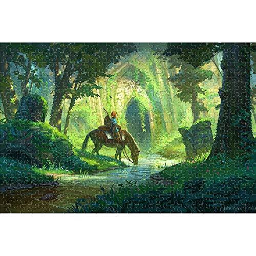 CHDBB Rompecabezas para Adultos Puzzle de 1000 Piezas The Legend of Zelda: Breath of The Wild Rompecabezas Imposible Link Rompecabezas del desafío del Cerebro 38x26cm