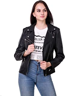 Leather Retail Biker Faux Leather Jacket For Woman