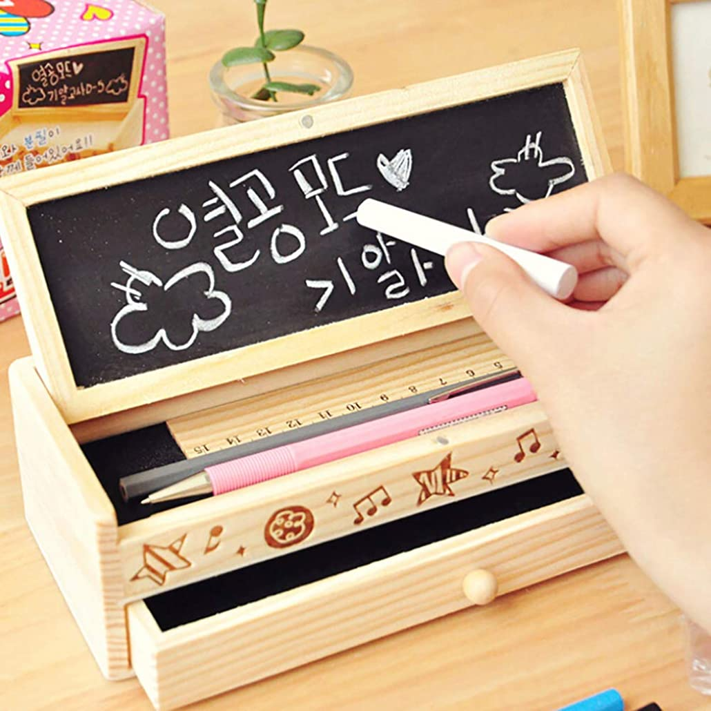 不透明なタンク配管素敵な筆箱多機能木製DIY引き出し文具箱多機能筆箱 (マルチカラー)