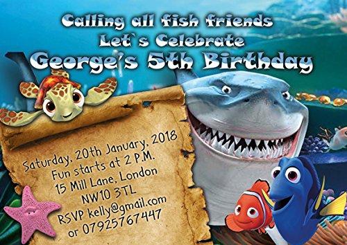 10 x Finding Nemo personnalisé enfants Fête d'anniversaire Invitations ou cartes de remerciement