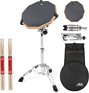 Practice Drum Pad Set 12 Inch Silicone Exercise Pads Mat for Adult Kids with Snare Drum Stand Double Sided Drumsticks Bag