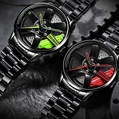 GJPSXTY Reloj de Pulsera Creativo para Hombre, Reloj de Pulsera para Llantas de Coche, Reloj para Llantas de Coche, Resistente al Agua, diseño Personalizado, 3D con Rueda de Coche, de Cuarzo